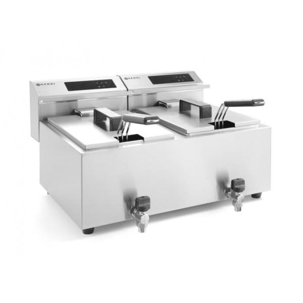 Friteuse Mastercook avec robinet de vidange numérique - 2 x 8 l
