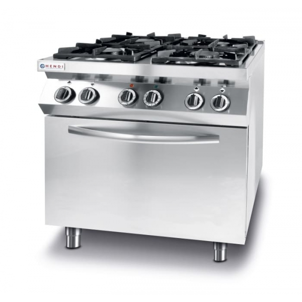 Gas cooker Kitchen Line 4-burner with convection electric oven GN 1/1
