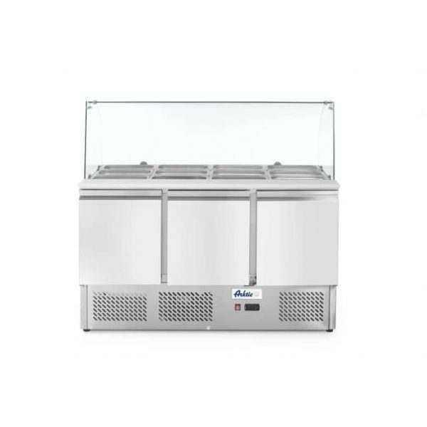 Saladette 3 portes avec vitrine réfrigérée en verre 380L