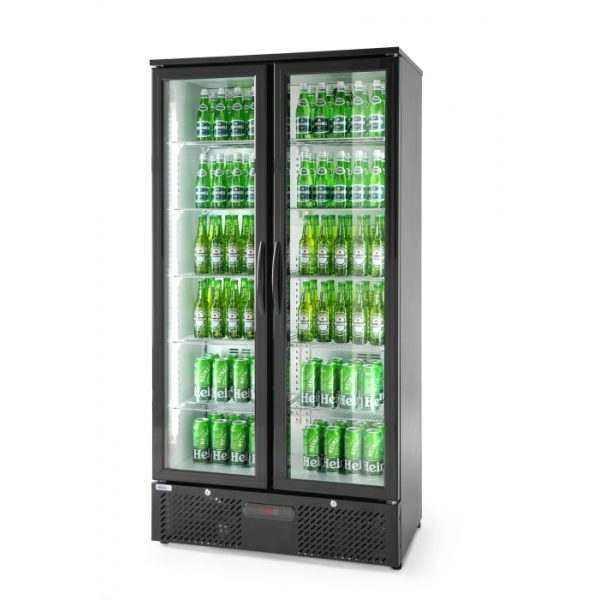 Vitrine de présentation boissons double portes 458L